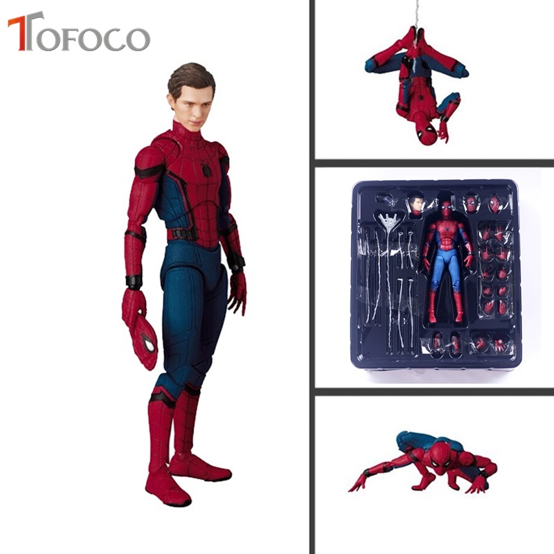 TOFOCO 18cm PVC Spiderman Action Figure Toy Hero Spider Man Figurine Model Anime Movie Figure Collection Toy For Boys In Box figma x man series spiderman figure no 001 revoltech deadpool with bracket no 002 revoltech spider man action figures