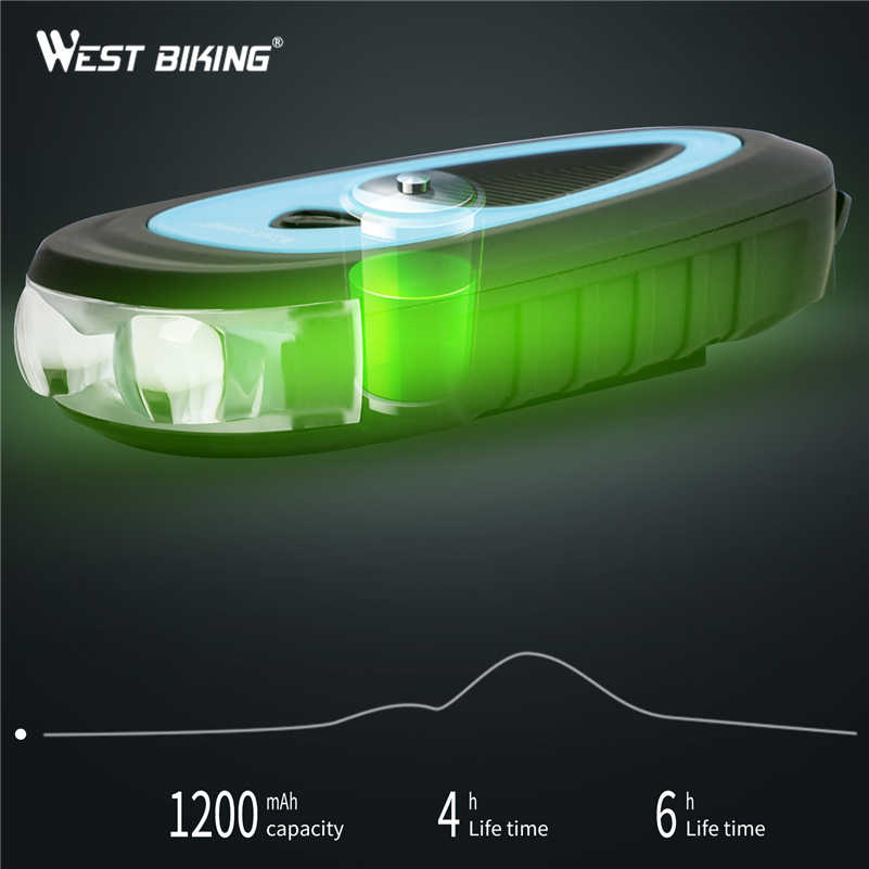 WEST BIKING, 3 режима, велосипедный головной светильник, 120 дБ, Электрический рожок, MTB, велосипедный звонок, Аксессуары для велосипеда, USB Перезаряжаемый велосипедный рожок, светильник