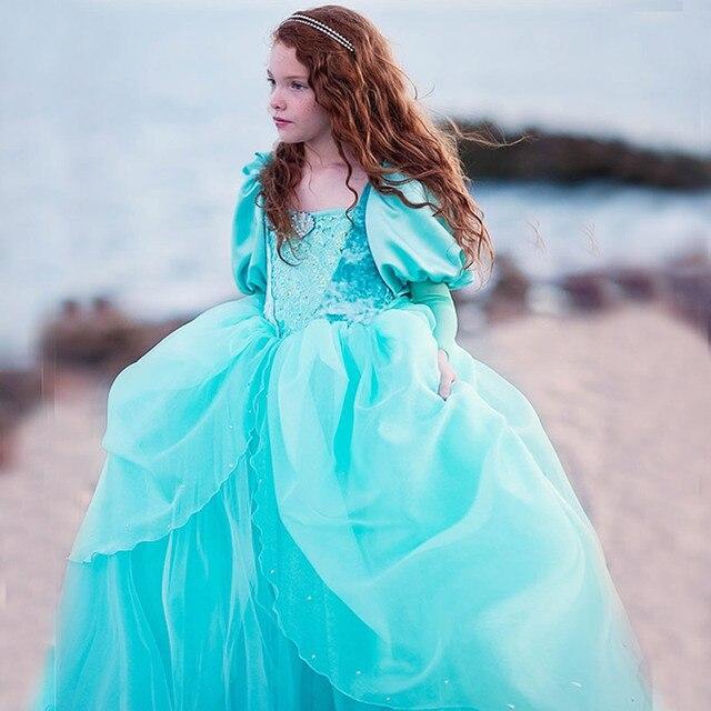 Girls Little Mermaid Princess Ariel Dress Up Dresses Kids Fancy Frock Role Playing Costume Birthday Party Wedding Flower Girl