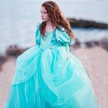 Mädchen Kleine Meerjungfrau Prinzessin Ariel Kleid Up Kleider Kinder Phantasie Kleid Rolle Spielen Kostüm Geburtstag Party Hochzeit Blume Mädchen