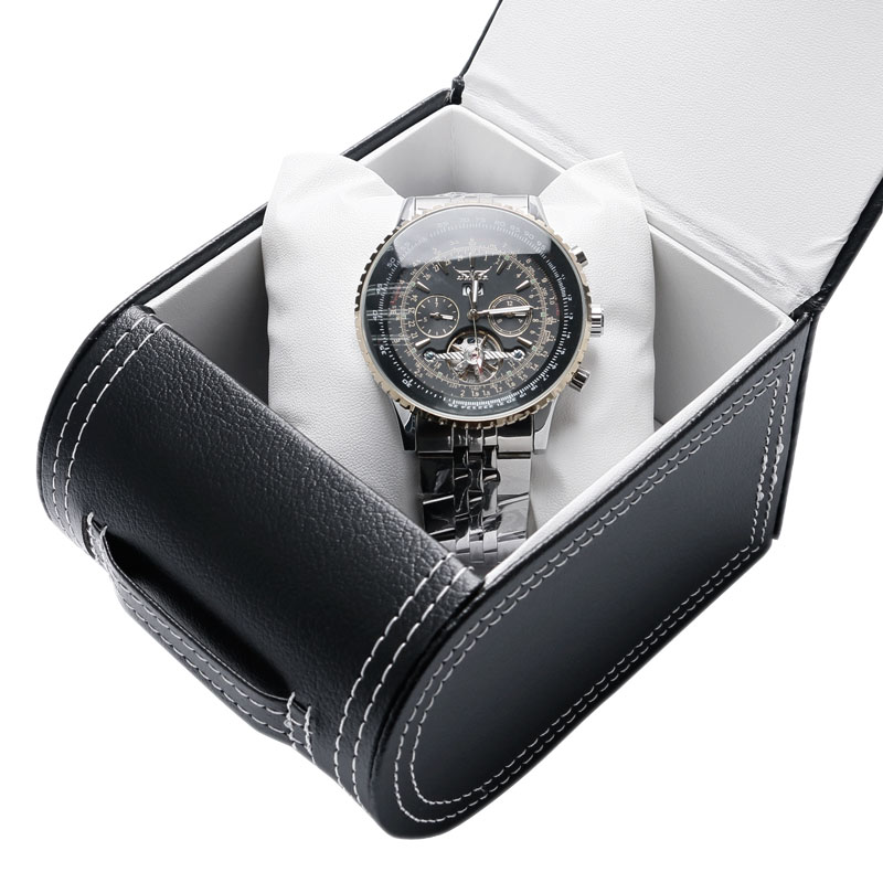 Gift Box High Qulaity Black Genuine Leather Watch  Box Little Pillow For Wrist Watches Jewelry Package Protection