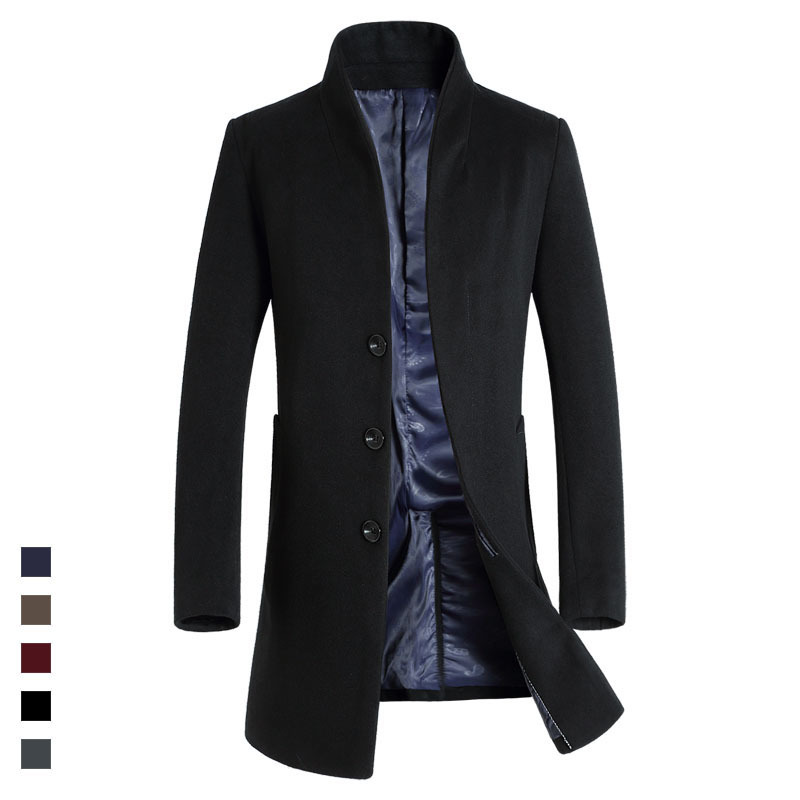 NEW 2018 High Quality Mens Long Wool Trench Coat Korean Men Slim fit Trench Parkas for Autumn