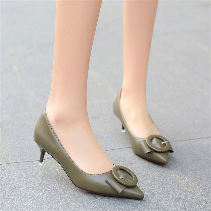 Simple Office Ladies Pumps Low Heel Shoes Sexy Butterfly