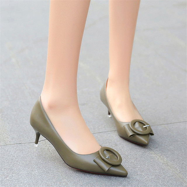Simple Office Ladies Pumps Low Heel Shoes Sexy Butterfly knot ...