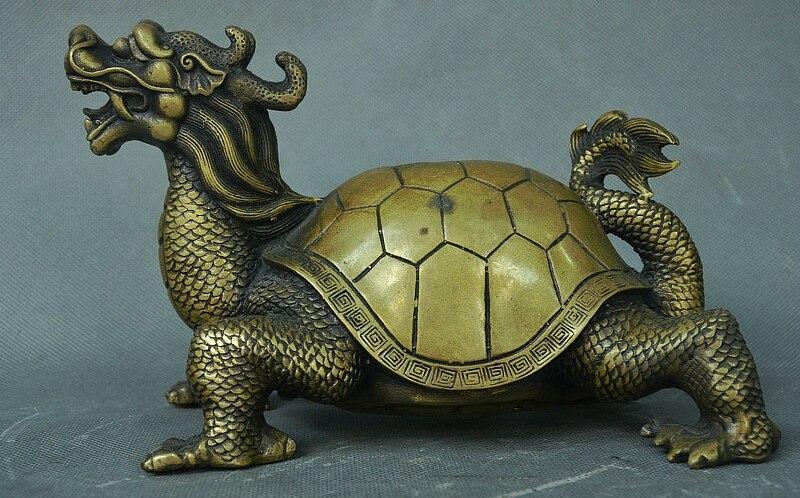 Palais de la dynastie chinoise en Bronze pur Fengshui richesse Dragon tortue tortue Statue