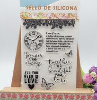 DIY Scrapbooking Albums Butterfly Stamp Scrapbook Album PDA Clock Seal Transparent DIY Retro Love Seal Lamps Stamp Clear Stamps