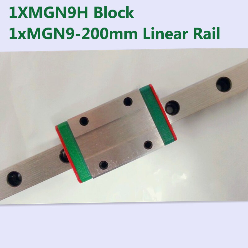 MR9 9mm linear rail guide MGN9 length 200mm with mini MGN9H linear block carriage miniature linear motion guide way for cnc actuator linear motion module for camera timelampse linear way roller guide linear rail