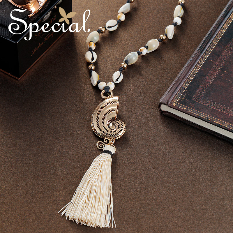 Special Fashion Nautilus Design Long Necklace Sweater Chain Tassel Necklaces & Pendants Ceramic Beads Gifts for Women S1788N