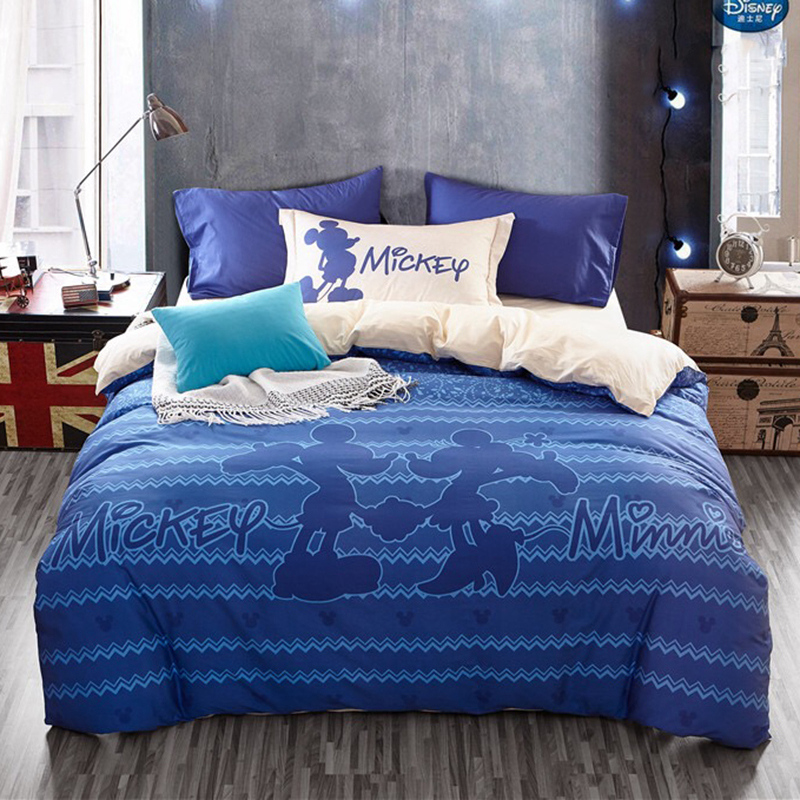 Blue Mickey Minnie Mouse 100% cotton Bedding Sets 3D Duvet Cover 3/4pcs Single Queen Sizes Children Girl 600tc Bed Sheet Set