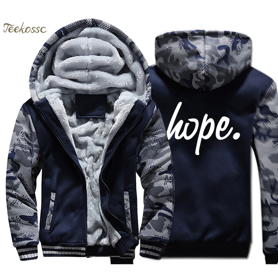 Hope Jacket Men Funny Printed Hooded Sweatshirt Coat New Brand Winter Thick Fleece Warm Zip up Hoodie Graphics Design Streetwear
