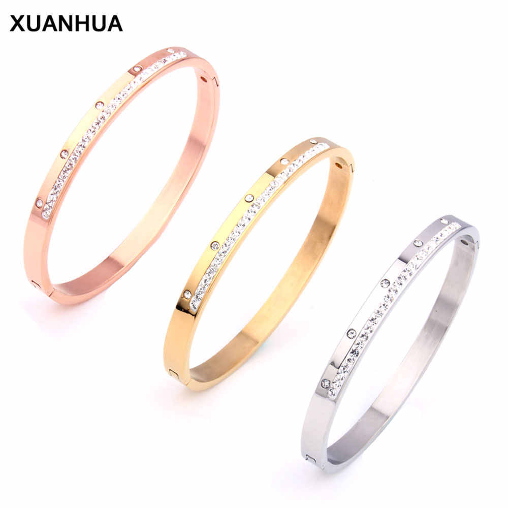 XUANHUA Bracelets & Bangles Stainless Steel Jewelry Woman Metal Gold Bracelet Luxury Fashion Bangle Jewelry Female Accessories
