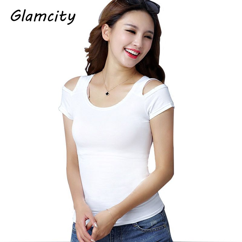 Glamcity 2017 New Arrival Solid Color Cotton Women T Shirt Short Sleeve Knitted Cutout Off Shoulder Summer T shirt