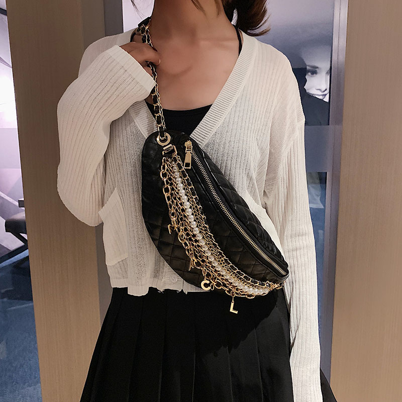 Image 3 - Shoulder Bag Women Leather Crossbody Bag Chain pearl Chest bag High Quality Messenger Bags Banana Pack Luxury-in Shoulder Bags from Luggage & Bags
