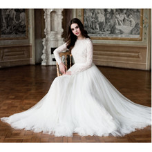 Custom Made Vestido De Noiva Vintage White/Ivory Tulle Applique Buttons Long Sleeve Lace Wedding Dress