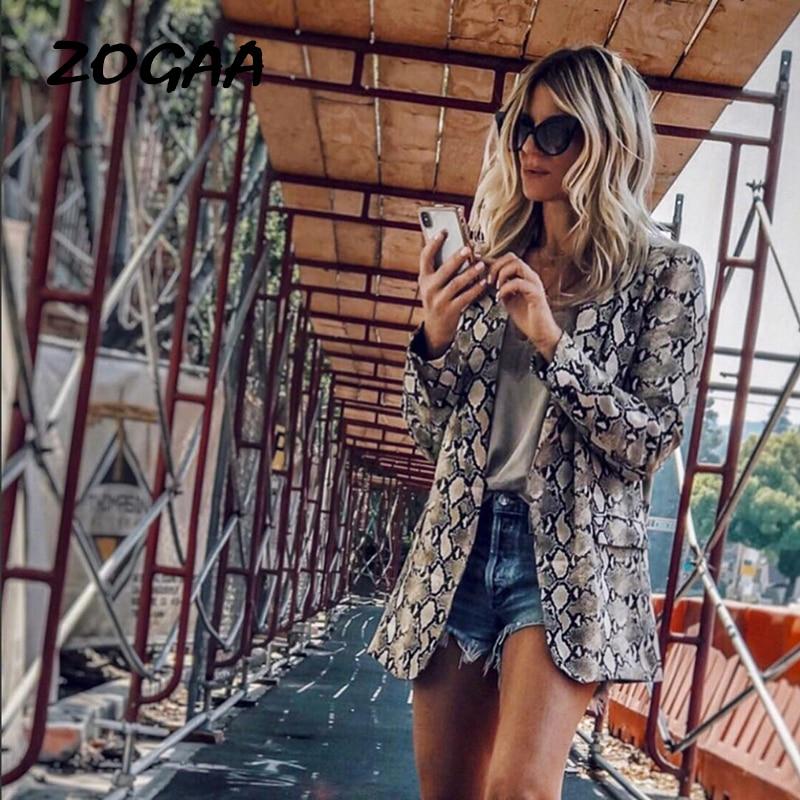 ZOGAA Fashion Print Leopard Thin Jacket Sexy Snake Long Sleeve Coat Elegant Women Open Stitch Outerwear Clothes Streetwear