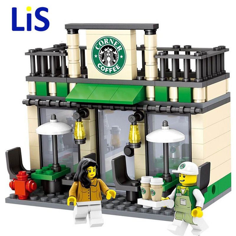 Lis City Series Mini Street Model Store Shop with Apple Store McDonald`s Building Block Toys Compatible with Lepin Hsanhe lepin 22001 pirate ship imperial warships model building block briks toys gift 1717pcs compatible legoed 10210
