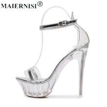 Letnia platforma Sexy czarny pvc sandały z paskami buty do striptizerki taniec na rurze kobiety duże rozmiary szpilki duża pompa Lady kobieta Plus