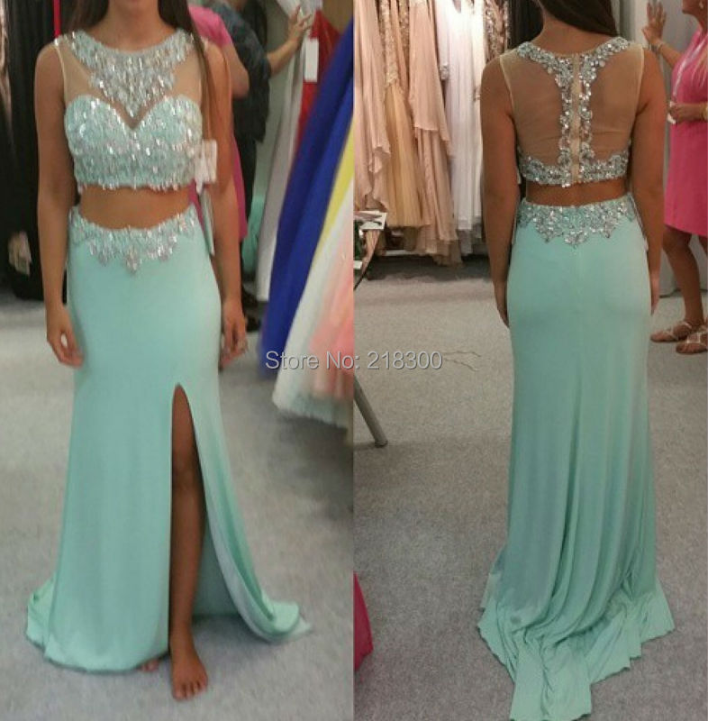 Two pieces prom dress mint green prom dress beaded prom dress with slit-in Prom  Dresses from Weddings   Events on Aliexpress.com  5e316be11924
