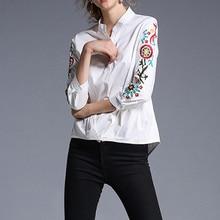 New Embroidery Shirt Women 3/4 Sleeve