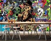 Beibehang Özel yeni 3d duvar kağıdı kişilik nostaljik retro graffiti korku İskelet görüntü duvar kağıdı kapalı için uygun