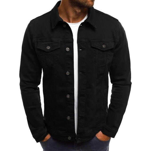 2019 Solid Color Jeans Jackets Denim Jacket Men Fashion Autumn Slim Jackets Mens Casual Denim Coats Turn-down Collar Streetwear