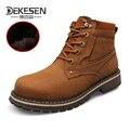 DEKESEN Size 38~49 Full grain leather Russian style Handmade warm fur plus size men winter shoes,Snow Boots for men Shoes 91809