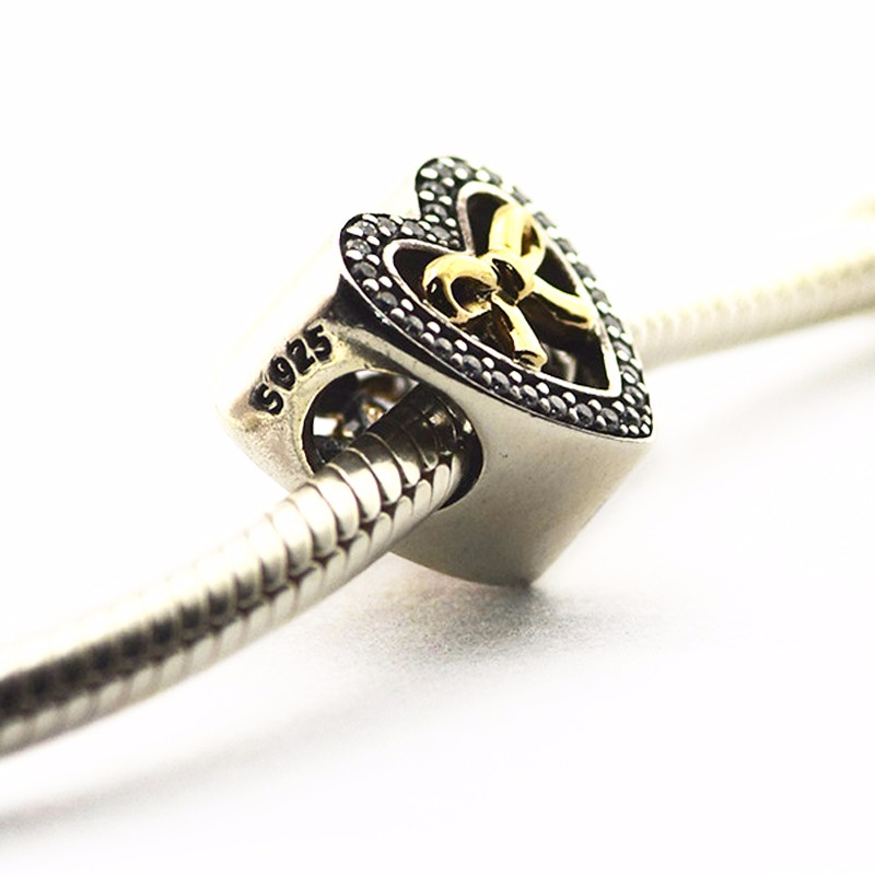 Fits Pandora bracelet 925 sterling silver Bound By Love charm with Cz Beads diy making for women DIY making wholesale
