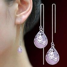 Silver Earrings 2016 New Design Fashion Vintage Gem 925 Sterling Silver Drop Earrings for Women Girls Jewelry Gift Wholesale pair of vintage faux gem water drop jewelry earrings for women