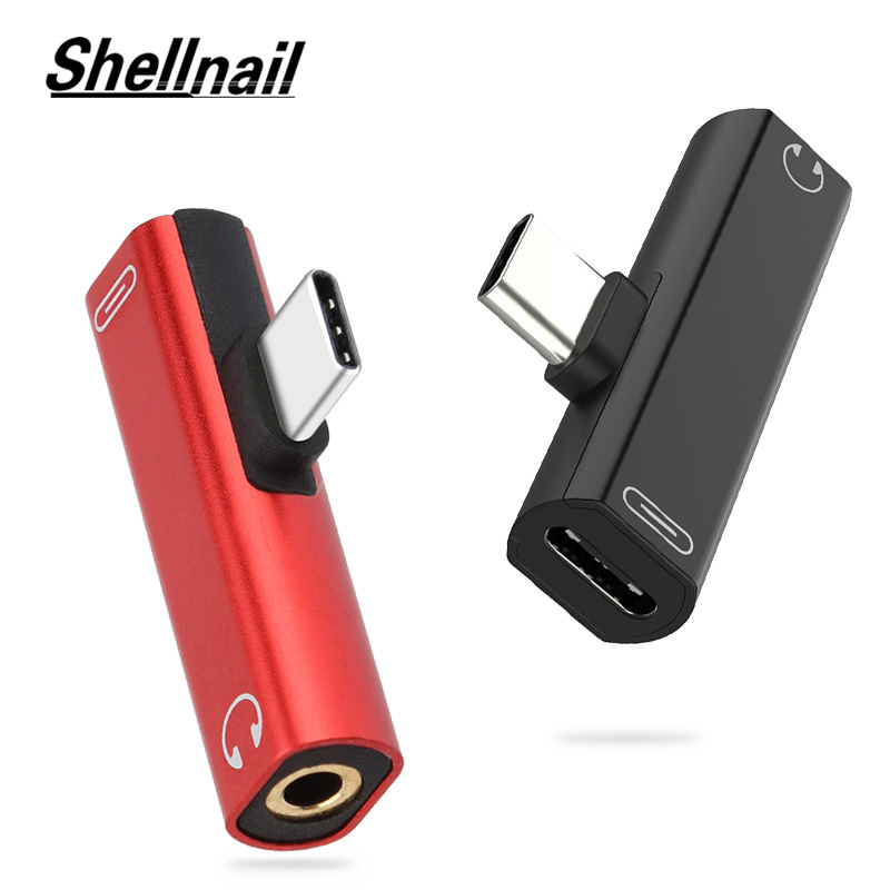 Shellnail USB Type C To 3.5mm Earphone Jack Adapter For Huawei Leeco Aux Audio Cable Headphone Charger Charging USB-C Converter