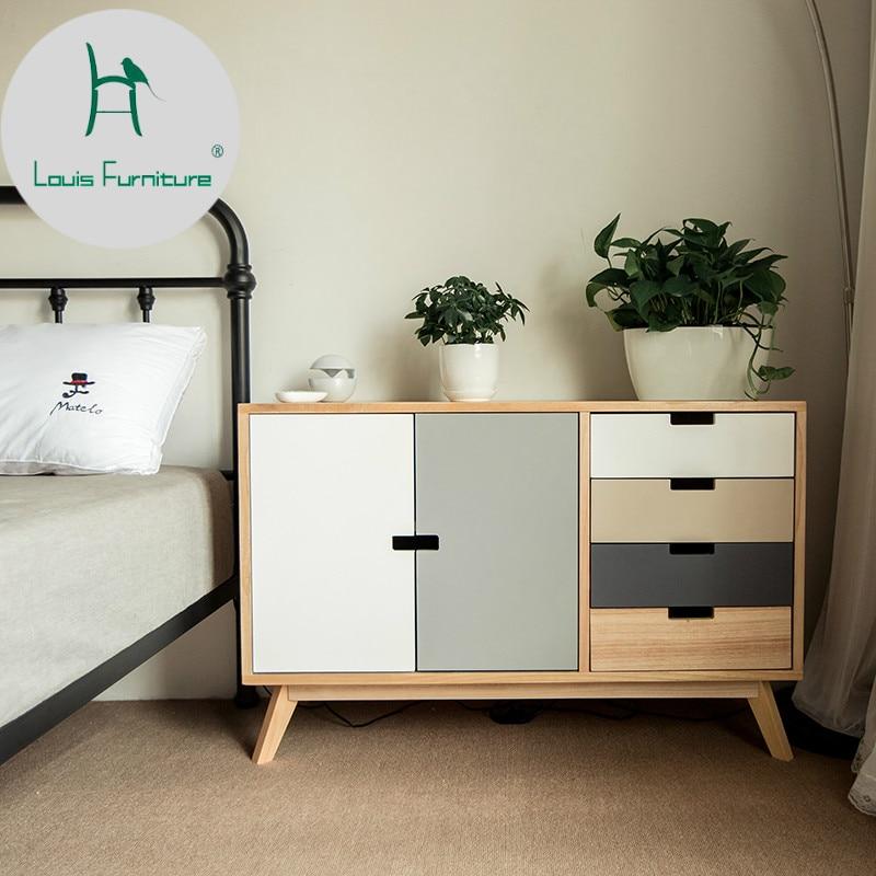Louis Fashion Solid Wood Nightstand Simple Modern Bedroom ...