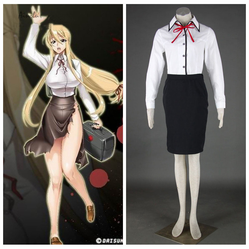 Ainclu Free Shipping HIGH SCHOOL OF THE DEAD Anime Marikawa Shizuka Halloween Cosplay Costume Customize for plus size adults