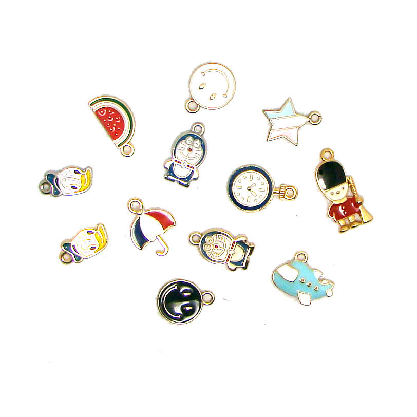 New metal enamel cartoon charm series mini pendant DIY bag clothes hat cell phone decorations ornament jewelry collection