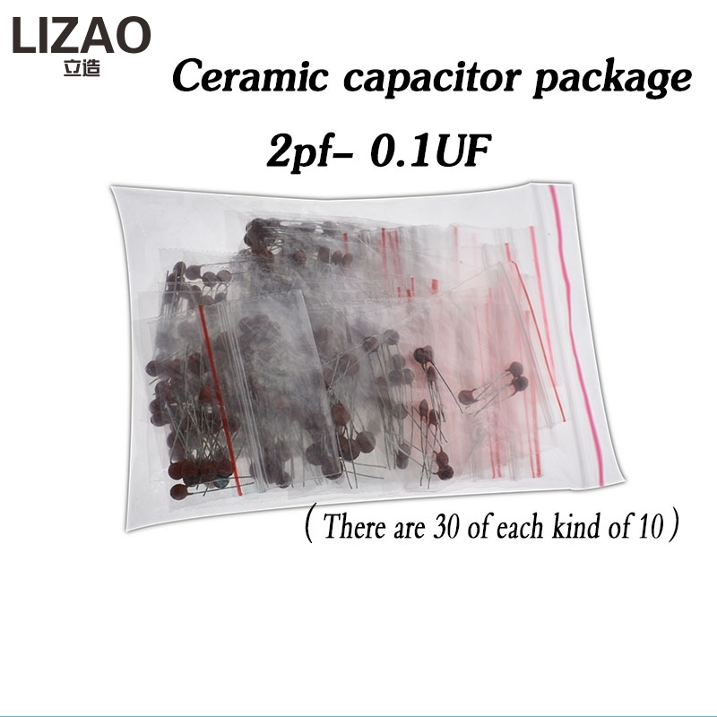 300pcs/lot Ceramic Capacitor Set Pack 2PF-0.1UF 30 Values*10pcs Electronic Components Package Capacitor Assorted Kit Samples Diy
