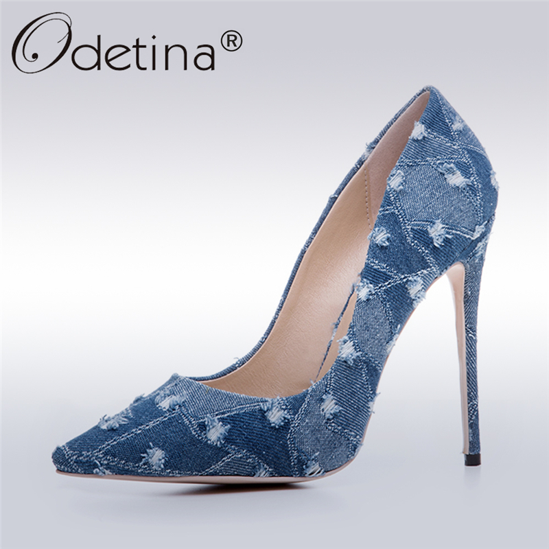 Odetina 2017 New Fashion Women Denim High Heels Ladies High Stiletto Pumps Pointed Toe Dress Elegant Party Shoes Big Size 33-43 new 2017 spring summer women shoes pointed toe high quality brand fashion womens flats ladies plus size 41 sweet flock t179