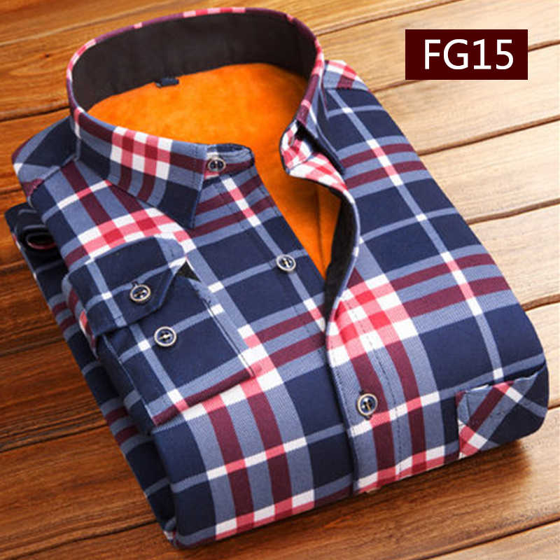 Mode Mannen Winter Dikke Flanel Warme Plaid Jurk Shirts Lange Mouwen mannen Werk Shirts Toevallige Slim Fit Camisa Sociale shirts 4XL