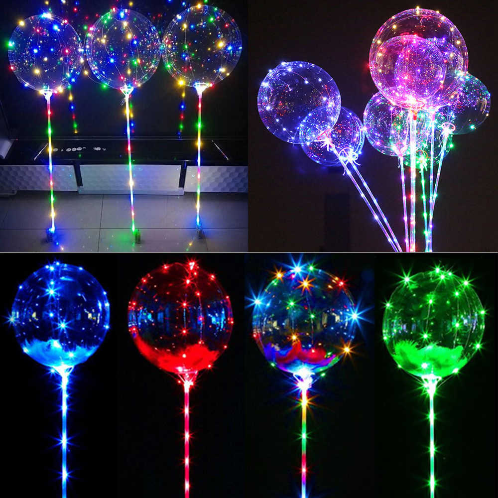 DIY LED Bobo Balloon Glowing Helium Ballon Kids Toy Gift Baby Birthday Party Led Balloons Wedding Bridal Shower Christmas Decors