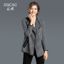 OUCAG 2017 New Autumn Women Winter Elegant Coat Women Short Tweed Jacket Fashion Female Outwear Loose