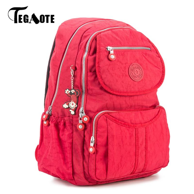 TEGAOTE Backpacks for Teenage Girls Mochila Feminina School Backpack Women Solid Famous Nylon Casual Laptop Bagpack Female 2017 tegaote backpack women fashion school backpacks for teenage girls mochila feminina escolar bolsa travel bagpack female sac a do