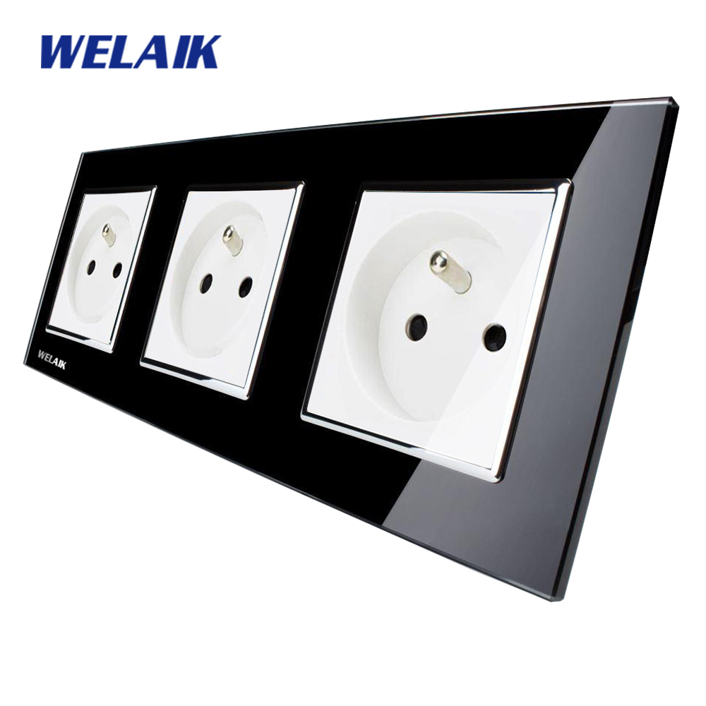 WELAIK Glass Panel EU Wall Socket Wall Outlet Black France Standard Power Socket AC110~250V A38F8F8FB welaik glass panel wall socket wall outlet white black european standard power socket ac110 250v a38e8e8ew b