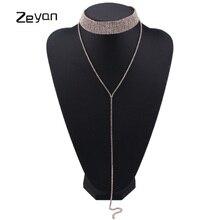 2017 New Fashion Women Chocker Luxury Rhinestone Crystal Personality Neck Long Chain Pendant Choker Necklaces Jewelry ZYJL002