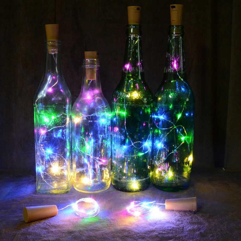 2 M 20led Daya Baterai Botol Lampu LED Sumbat Bentuk String Lampu untuk Bistro Botol Anggur Berbintang Bar Pesta Valentine lampu Malam