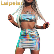 Laipelar Sexy Womens Set Summer Dress 2018 Strapless Crop Tube Top With Skirt Shiny PU 2 Pieces Women Evening