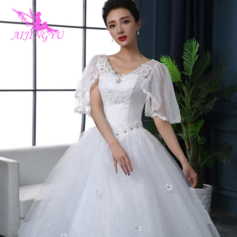 AIJINGYU 2018 Custom Made Free Shipping New Hot Selling Cheap Ball Gown Lace Up Back Formal Bride Dresses Wedding Dress FU216