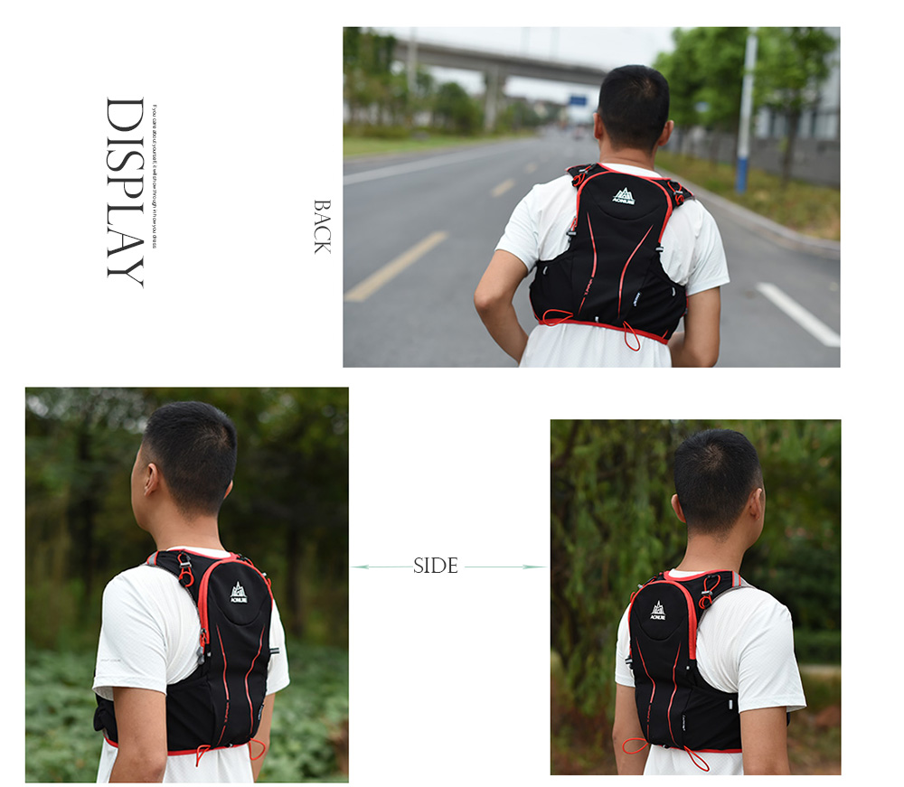 Foto from the side breathable hydration vest pack for cycling. Outdoor hydration rucksack 1.5L for men