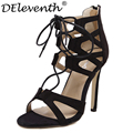 New Brand Design Fashion CutOuts Open Toe High Heels Shoes Woman Sexy Sandals Black White Cross Strap Zipper Shoes Zapatos Mujer