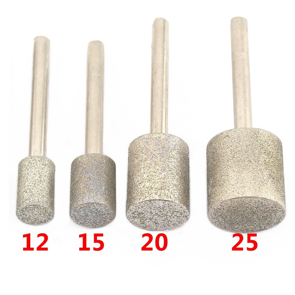12-40mm Grit 80 Coarse Cylinder Diamond Grinding Head Bit Cylindrical Points Coated Jade Carving Burrs Lapidary Tools For Stone