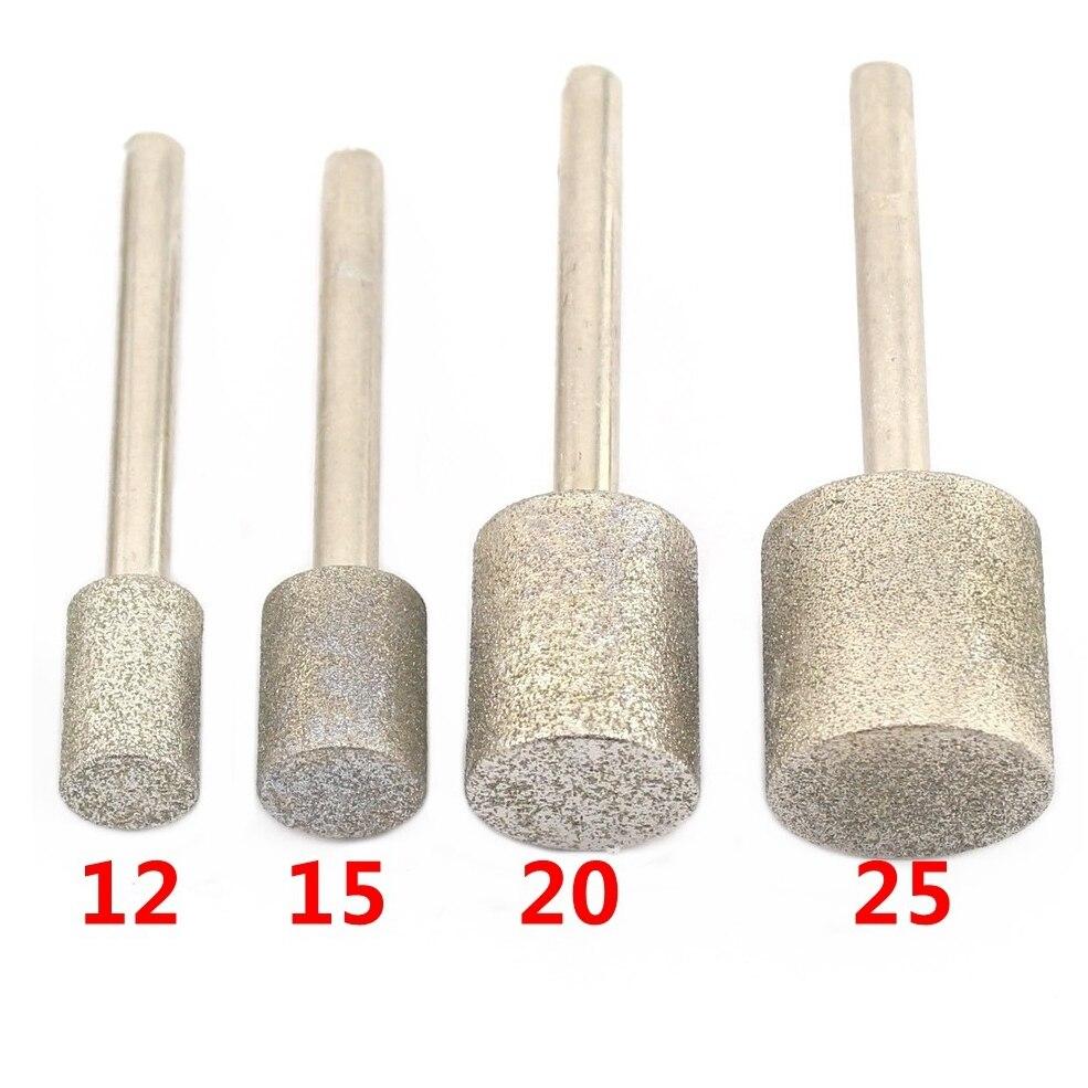 12-40mm Grit 80 cilindro grueso diamante cabezal de molienda puntos cilíndricos recubierto Jade tallado Burrs herramientas Lapidary para piedra