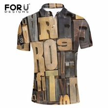 FORUDESIGNS Vintage 3D Letters Printed Polo Shirt for Man Boys Brand Designer Shirt Male Clothing Dress Shirts Comfort Camisetas