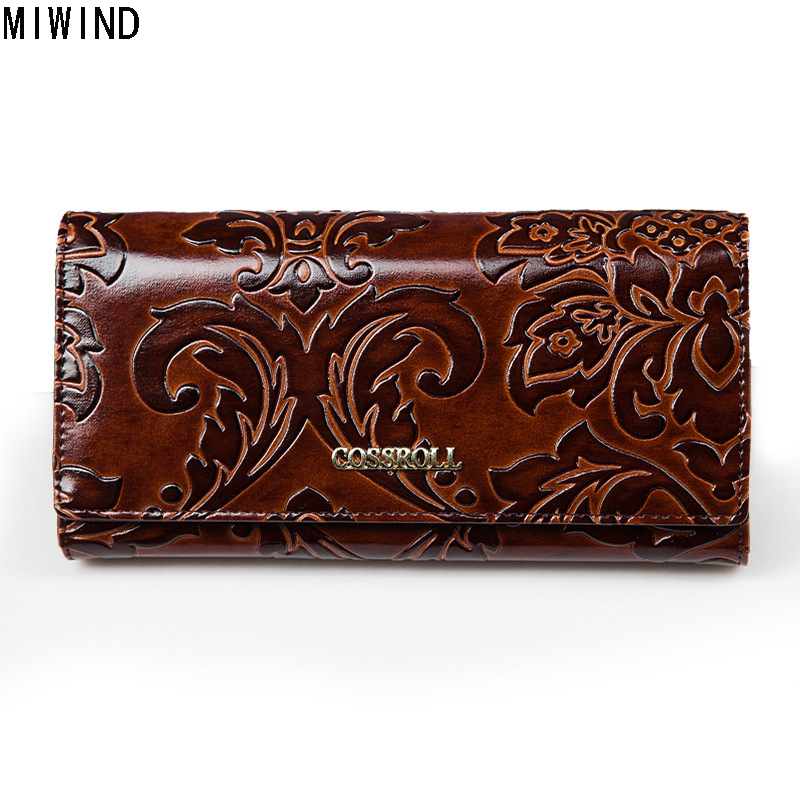 2017 New Embossing Flower Genuine Leather Women Wallets Multifunction High Quality Cow Leather Purse Female Long Design T1138 genuine leather 3d embossing dragon