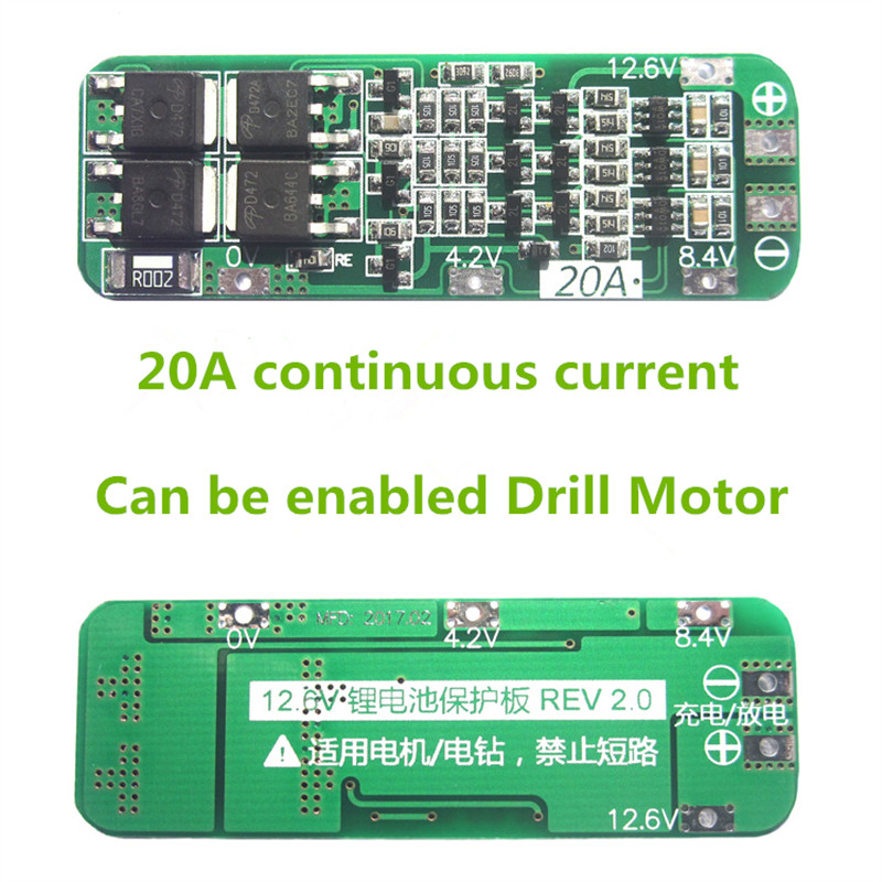 3S 20A 18650 Lithium Battery Protection Board Li-ion Lipo Battery Charger Protect PCB BMS 12.6V Cell Module For Drill Motor 5pcs 2s 7 4v 8 4v 18650 li ion lithium battery charging protection board pcb 40 7mm overcharge overdischarge protection